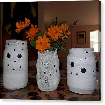Halloween Flowers For Mummy Canvas Print by Belinda Lee
