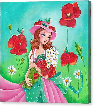 Flower Pink Fairy Child Canvas Print - Flowers For You by Cartita Design