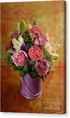 Pink Carnation Canvas Print - Flowers From A Friend by Lois Bryan