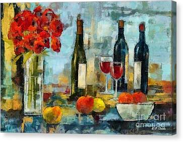 Flowers Fruit And Wine Canvas Print by Elizabeth Coats