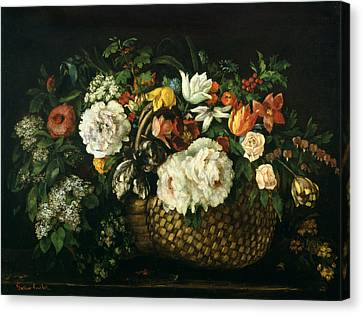 Basket Of Flowers Canvas Print - Flowers In A Basket, 1863 by Gustave Courbet
