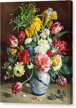 Close Up Canvas Print - Flowers In A Blue And White Vase by R Klausner