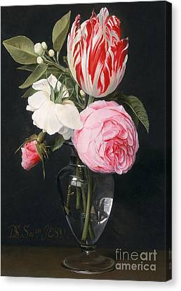 Flowers In A Glass Vase Canvas Print by Daniel Seghers