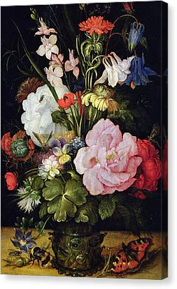 Flowers In A Vase Canvas Print by Roelandt Jacobsz Savery