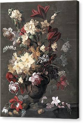 Flowers In A Vase Standing On A Ledge Canvas Print by Mary Moser