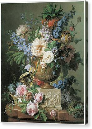 Flowers In An Alabaster Vase Canvas Print by Gerard Van Spaendonck