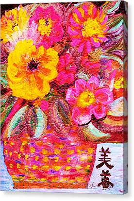 Flowers In Basket With Chinese Characters Canvas Print by Anne-Elizabeth Whiteway