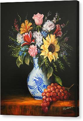Canvas Print featuring the painting Flowers In Blue And White Vase by Sandra Nardone