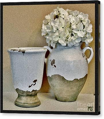 Flowers In European Pottery Canvas Print by Marsha Heiken