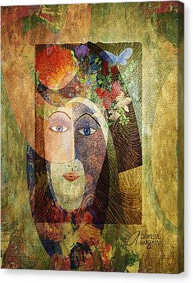 Canvas Print featuring the digital art Flowers In Her Hair by Arline Wagner