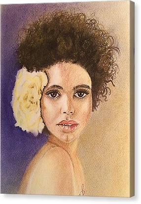 Flowers In Her Hair II. Canvas Print by Paula Steffensen