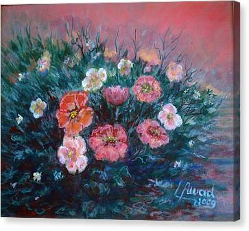 Canvas Print featuring the painting Flowers In My Garden. by Laila Awad Jamaleldin
