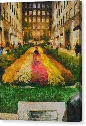 Flowers In Rockefeller Plaza Canvas Print by Dan Sproul