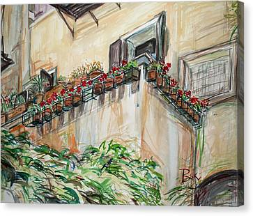 Canvas Print featuring the painting Flowers In The Pots by Becky Kim