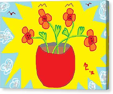 Canvas Print featuring the painting Flowers In The Sun by Anita Dale Livaditis