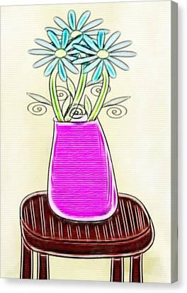 Flowers In Vase - Digital Artwork Canvas Print by Gina Lee Manley