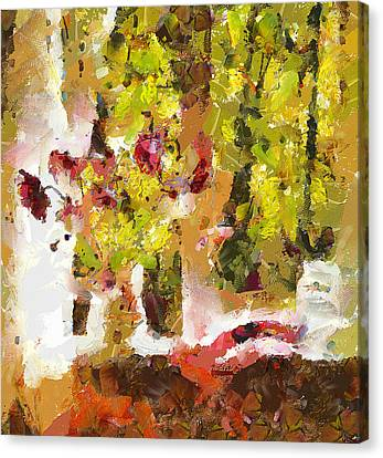 Flowers In Vase On The Window Canvas Print