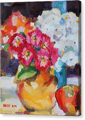 Flowers In Yellow Vase With An Apple Canvas Print by Becky Kim