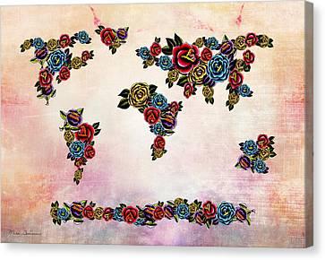 Flowers Map  Canvas Print by Mark Ashkenazi