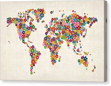 Flowers Map Of The World Map Canvas Print by Michael Tompsett