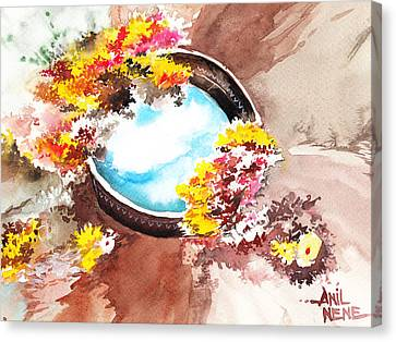 Flowers N Sky Canvas Print by Anil Nene