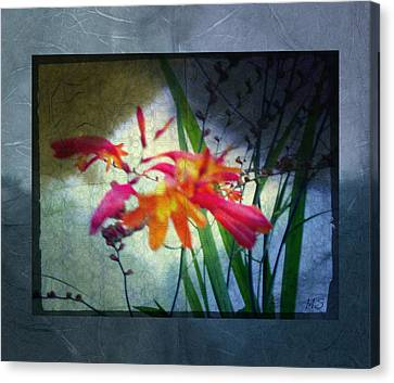 Canvas Print featuring the digital art Flowers On Parchment by Absinthe Art By Michelle LeAnn Scott