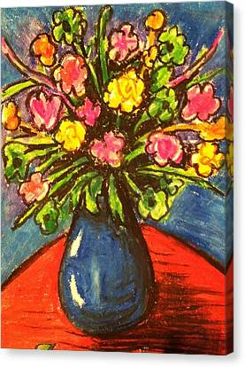 Flowers On Red Table Canvas Print