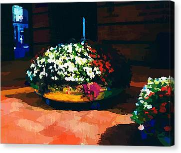 Flowers On The Canal Canvas Print by P Dwain Morris