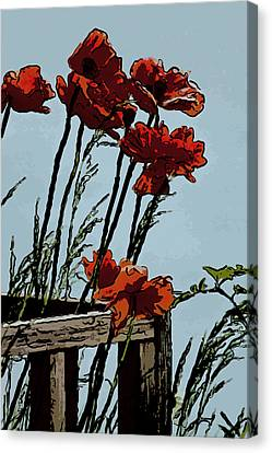 Flowers On The Deck Corner Canvas Print by David Kehrli
