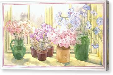 Flowers On The Windowsill Canvas Print by Julia Rowntree