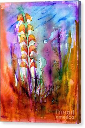 Canvas Print featuring the painting Flowers Orange by Mukta Gupta