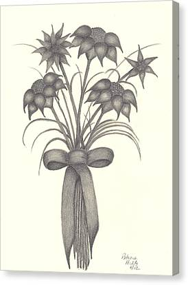 Canvas Print featuring the drawing Flowers by Patricia Hiltz