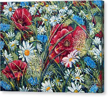 Flowers Poppies And Daisies No.5 Canvas Print by Drinka Mercep