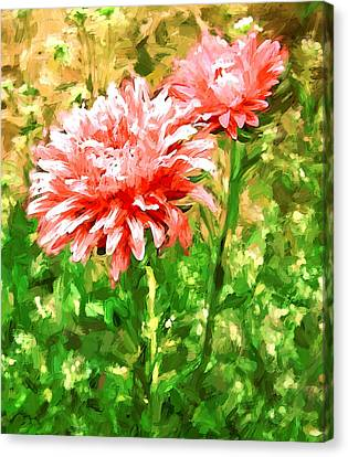 Flowers Red On Green Canvas Print by Yury Malkov