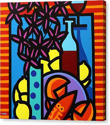 Glass Bottle Canvas Print - Flowers Wine Lobster And Lemons by John  Nolan