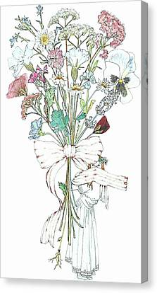 Flowers With A Girl And A Bow Canvas Print by Janet Ashworth