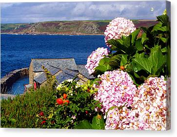 Flowers With A Sea View Canvas Print by Terri Waters