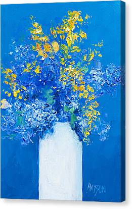 Flowers With Blue Background Canvas Print by Jan Matson