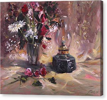 Flowers With Lantern Canvas Print by Nancy Griswold