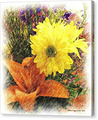 Pencil Sketch Canvas Print - Flowers With Love by Luther Fine Art