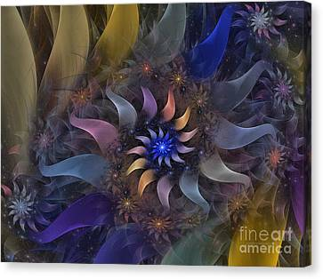 Flowery Fractal Composition With Stardust Canvas Print