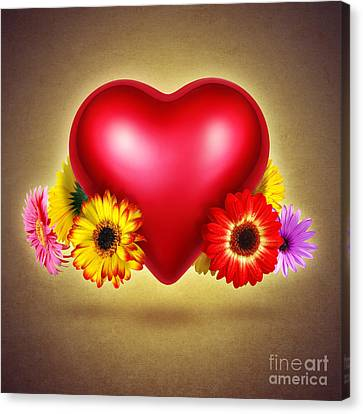 Heartbeat Canvas Print - Flowery Heart by Carlos Caetano