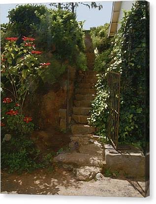 Flowery Stairway Canvas Print by Dominique Amendola