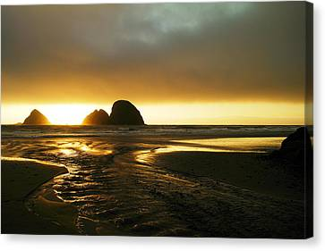Flowing Into The Ocean Canvas Print by Jeff Swan