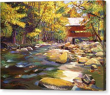 New England Autumn Canvas Print - Flowing Water At Red Bridge by David Lloyd Glover