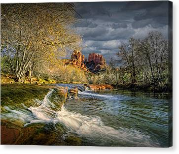 Flowing Water By Cathedral Rock Canvas Print by Randall Nyhof