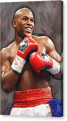 Boxing Canvas Print - Floyd Mayweather Artwork by Sheraz A