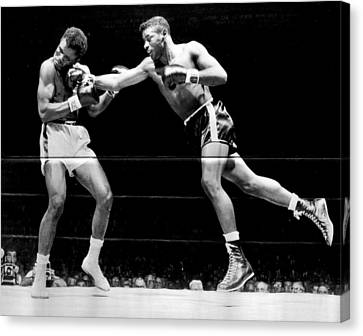 Floyd Patterson Throwing Hard Punch Canvas Print