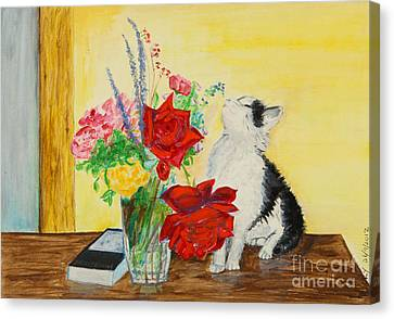 Fluff Smells The Lavender- Painting Canvas Print by Veronica Rickard