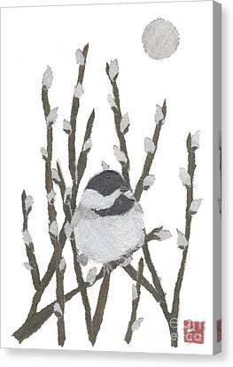Chickadee Art Hand-torn Newspaper Collage Art By Keiko Suzuki Bless Hue Canvas Print by Keiko Suzuki